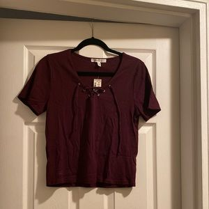 Aeropostale Maroon Lace-Up Top XL